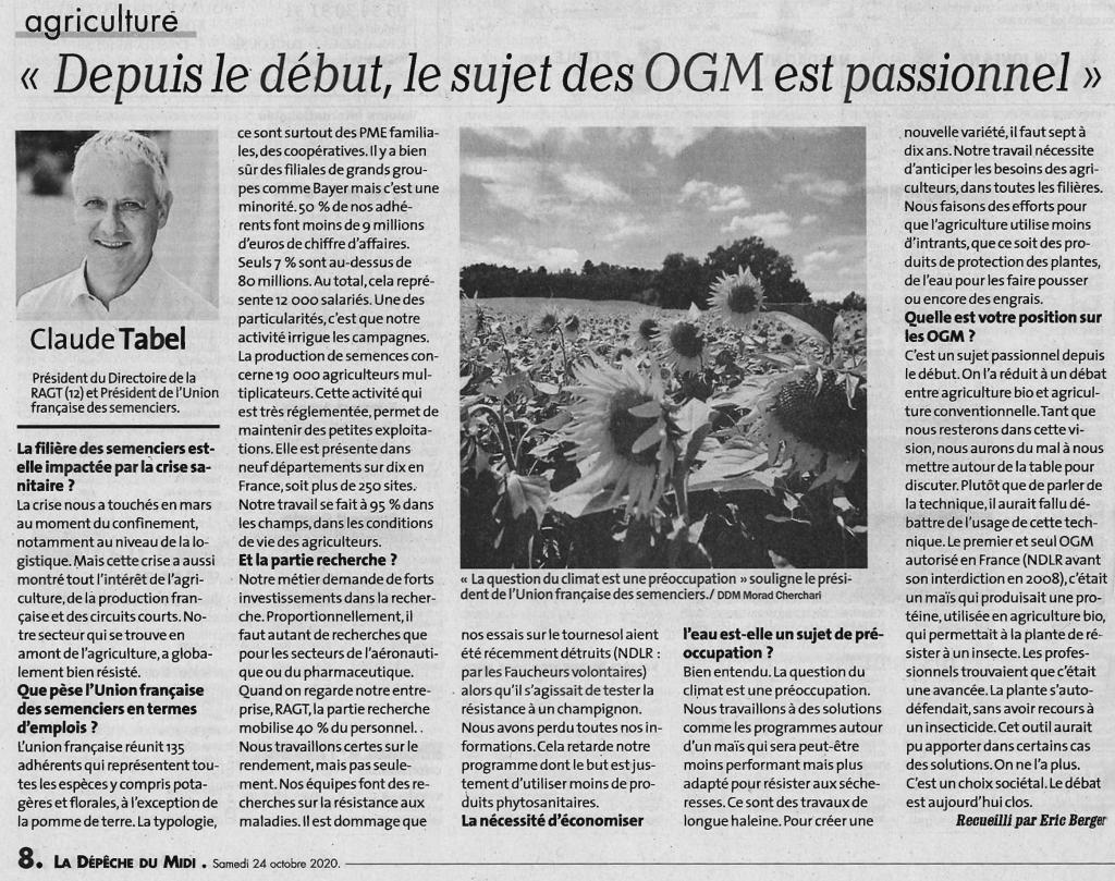 Depuis le début, le sujet des OGM est passionnel - interview Claude TABEL, président du Directoire de RAGT et président de l'UFS