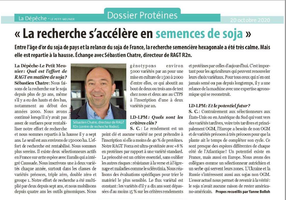 «La recherche s'accélère en semences de soja»